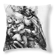 Study For A Madonna With A Cat Throw Pillow