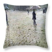 Study For A Paris Street Rainy Day Throw Pillow by Gustave Caillebotte