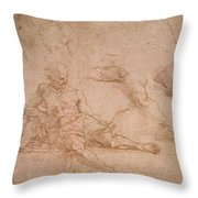 Study For The Figure Of Diogenes In The School Of Athens Throw Pillow