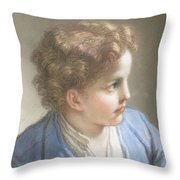 Study Of A Boy In A Blue Jacket , Benedetto Luti Italian, Florence 1666-1724 Rome Throw Pillow