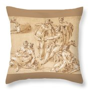Study Of Diana With Her Nymphs And Hounds Throw Pillow