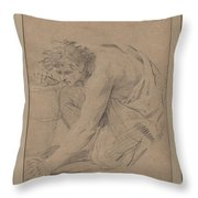 Study Of Man's Figure Stooping To Pick Up An Object Throw Pillow