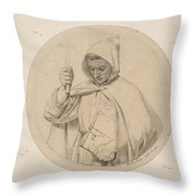 Study Of Monk Representing The Catholic Faith Throw Pillow