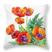 Study Of Poppies Throw Pillow