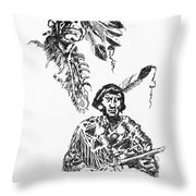 Study Of Two Indians Throw Pillow