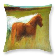 Study Of Two Ponies Throw Pillow