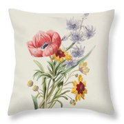 Study Of Wild Flowers Throw Pillow by English School