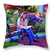 Studying Before Class Throw Pillow