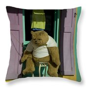 Stuffed Bear Chained To A Door Throw Pillow