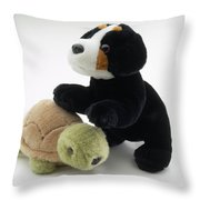 Stuffed Dog And Turtle Throw Pillow