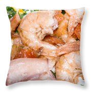 Stuffed Squid Fried With Shrimp Throw Pillow