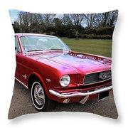 Stunning 1966 Metallic Red Mustang Throw Pillow