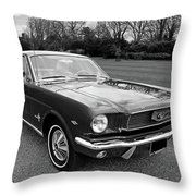 Stunning 1966 Mustang In Black And White Throw Pillow