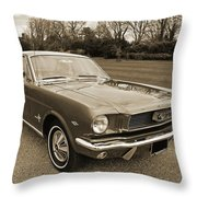 Stunning '66 Mustang In Sepia Throw Pillow