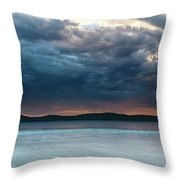 Stunning Cloudy Sunrise Seascape Throw Pillow