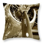 Stunning Propeller In Sepia Throw Pillow by Dennis Dame