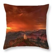 Stunning Red Storm Clouds Over The North Rim Grand Canyon Arizona Throw Pillow
