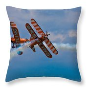 Stunt Biplanes With Wingwalkers Throw Pillow