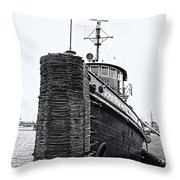 Sturgeon Bay Tug Boat Throw Pillow