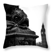 Sturgeon Lamp Post With Big Ben London Black And White Throw Pillow