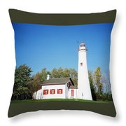 Sturgeon Point Lighthouse, Michigan - Horizontal Throw Pillow
