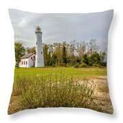 Sturgeon Point Ligthouse Lake Huron, Lower Peninsula, Mi Throw Pillow