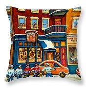 St.viateur Bagel Hockey Montreal Throw Pillow