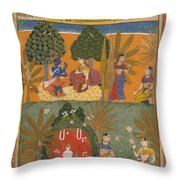 Style Of Manohar    Krishna And Radha With Their Confidantes Page From A Dispersed Gita Govinda Throw Pillow