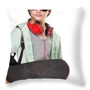 Stylish Boy With Skateboard Throw Pillow