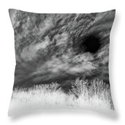 Stylized Monochrome Landscape Of A Storm Throw Pillow