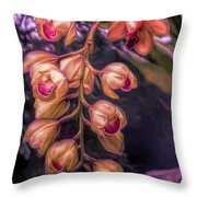Stylized Orchids Throw Pillow