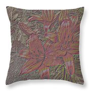 Stylized Sketch With Lily Throw Pillow