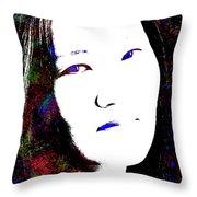 Stylized Woman's Portrait Throw Pillow