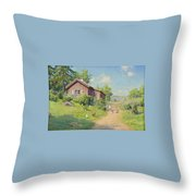 Subjects With Girl And Pecking Chickens Throw Pillow