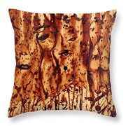 Subtle Atraction Coffee Painting Throw Pillow