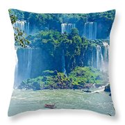 Subtropical Vegetation Surrounds Waterfalls In Iguazu Falls National Park-brazil Throw Pillow