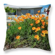 Suburban House On Orchard Avenue With Poppies Hayward California 3 Throw Pillow