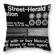Subway 34 Street Throw Pillow