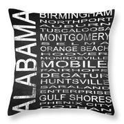 Subway Alabama State Square Throw Pillow