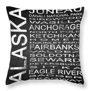 Subway Alaska State Square Throw Pillow