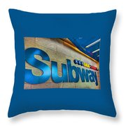 Subway Entrance Throw Pillow