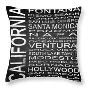 Subway California State 5 Square Throw Pillow