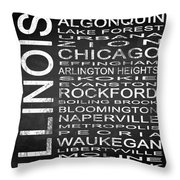 Subway Illinois State Square Throw Pillow