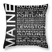 Subway Maine State Square Throw Pillow