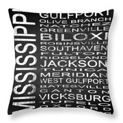 Subway Mississippi State Square Throw Pillow