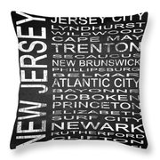 Subway New Jersey State Square Throw Pillow