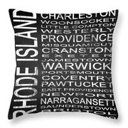 Subway Rhode Island State Square Throw Pillow