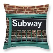 Subway Sign In New York City Throw Pillow