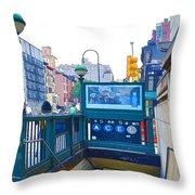 Subway Station Entrance 2 Throw Pillow