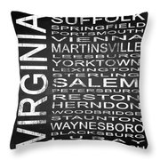 Subway Virginia State 2 Square Throw Pillow